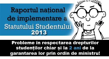 Raport implementare Statutul Studentului 2013 ANOSR