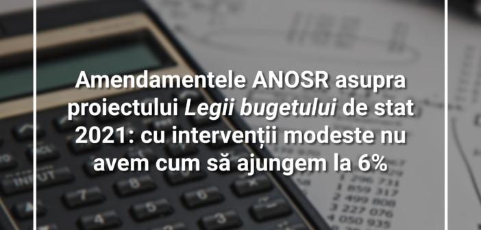 Amendamentele ANOSR asupra proiectului Legii bugetului de stat 2021: cu intervenții modeste nu avem cum să ajungem la 6%